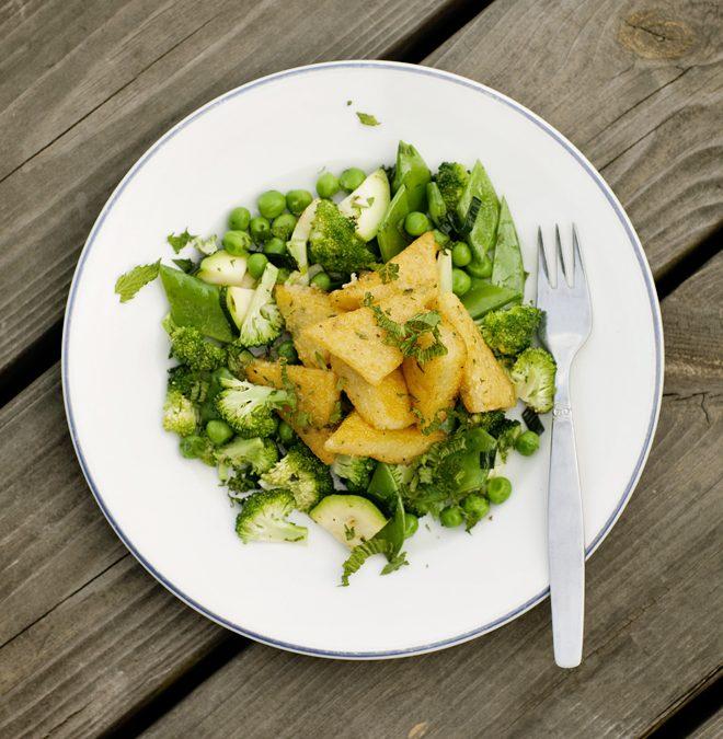 Polenta med grön wok
